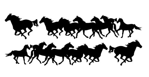 Horse Decals Running - Decal Graphic Kit, Both Sides Left & Right - Running Horses Large For Cowboy Or Cowgirl Stable Truck 4x4 Or Horse Trailer - 7 1/2 x 36 inches In Black