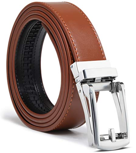 (Men's Genuine Leather Ratchet Dress Belt Custom Fit, Automatic Buckle, No Hole (Adjustable From 28