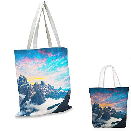 small clear shopping bag Mountain Alpine Scenery Foggy Italian Natural Park Vivid Sky Above Clouds Photography Black White Blue travel shopping bag - Natural Miniature Woven Beach Bags