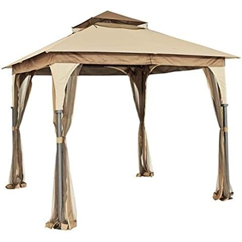 Sunjoy Pompeii Gazebo Party Canopy, 8' x 8' (First Up Screen Curtain)