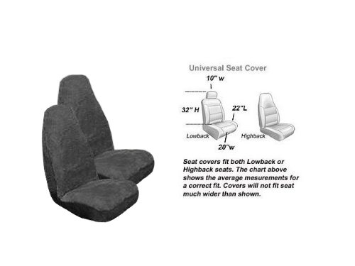 - 2 Front Synthetic Sheep Skin Seat Cover - Smoke