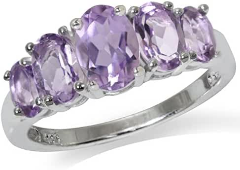 1.93ct. 5-Stone Natural Amethyst 925 Sterling Silver Ring