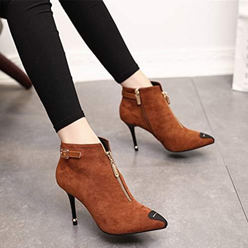 GTVERNH Mode Damenschuhe Herbst und Winter Sexy Spitzen - - - Reißverschluss Teenage - Show 9Cm Hochhackige Stiefel Martin Pendler Dünn und Kurze Stiefel. 5da553