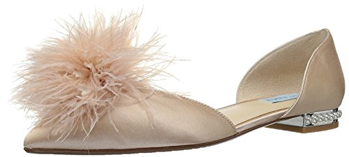 Champagne Johnson Pointed Betsey Blue Satin Satin by Champagne Anna SB Womens Toe Flat zx6qCw