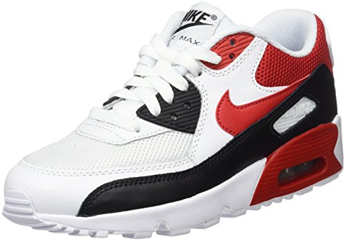 Nike Air Max 90 Mesh Gs, Zapatillas Unisex Niños Mehrfarbig (White/univ Red/black/wolf Grey)