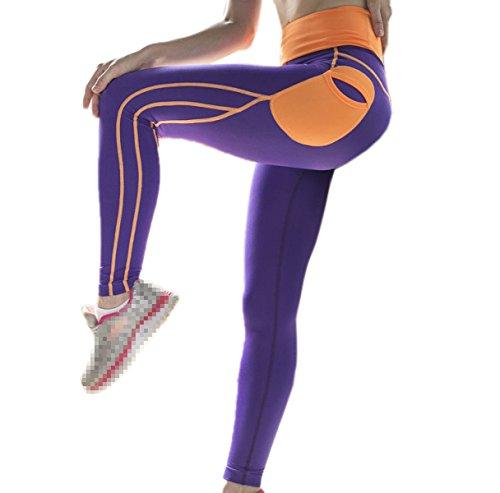 De Pantalones Medias Polainas Yoga Para Correr Mujeres Activo Morado 01007 Las UnY4PP