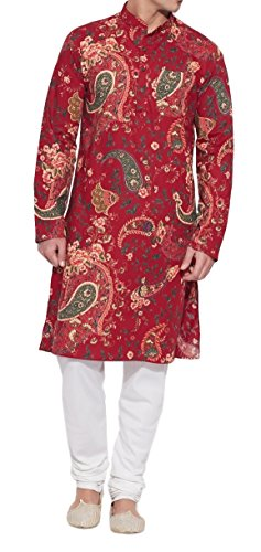 ShalinIndia Men Cotton Long Kurta Nehru Collar 3 pockets-Maroon-Size 48 Inch (2)