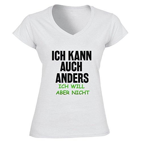 Ich Kann Auch Anders Ich Will Aber Nicht Damen V-neck T-shirt