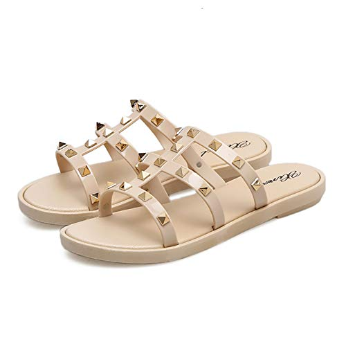 Aphoraeny Rivets Studs Flat Sandals Jelly Sandal Rubber Flat Open Toe Flip Flops Women's Summer Dress Shoes (6, Nude)