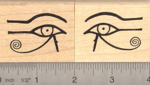 of Horus Rubber Stamp Set, AKA Eye of Ra, Wedjat (1101- His right eye, on your left if you were facing him) (1102- His left eye, on your right if you were facing him) (Wedjat Eyes)
