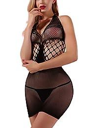 2ea062f880f72 Women's Mesh Lingerie Fishnet Babydoll Mini Dress Free Size Bodysuit