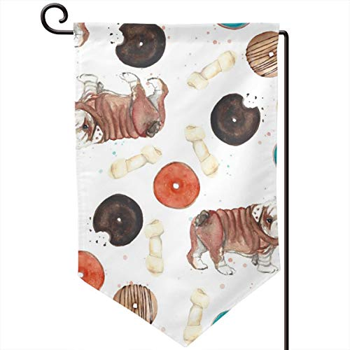 Private Bath Customiz Bulldog Bones Donuts Pattern Welcome Garden Flag Seasonal Spring Summer Outdoor Decorative Flags for Yard Lawn 12.5 X 18 Inch -
