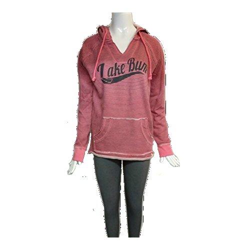 Old Skool Boutique Ladies Lake Bum Striped Hoodie V Notched Neck Front Pocket (Regular & Plus Sizes) (2XL, Pink/Grey) (Girl Lake)