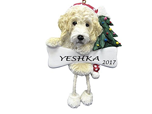 Dangling Legs Dog Ornament - Labradoodle Cream Color with Dangling Legs with Red Santa Hat Hand Painted Personalized Christmas Ornament