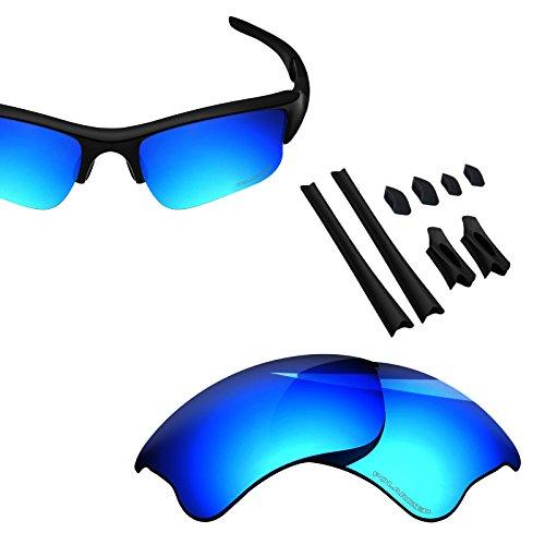 BlazerBuck Anti-salt Polarized Replacement Lenses & Sock Kit for Oakley Flak Jacket XLJ - Ice Blue