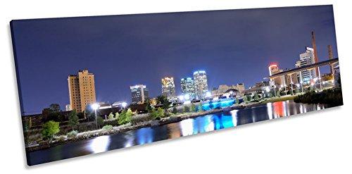 (Canvas Geeks - Birmingham Alabama City Skyline - 120cm wide x 40cm high CANVAS WALL ART Panoramic Framed Print Picture)