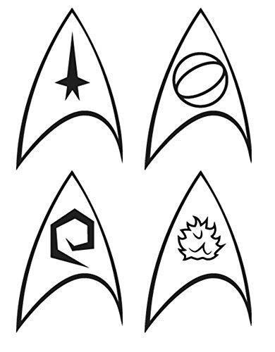 Star Trek Enterprise Division Logo Insignia Tattoos - 4 Pack