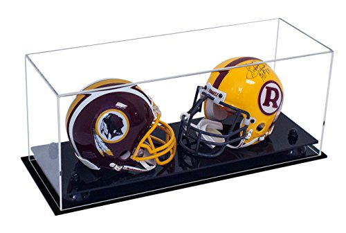 Deluxe Clear Acrylic Double Mini Football Helmet Mini Goalie Mask Display Case with Black Risers (A019-BR)