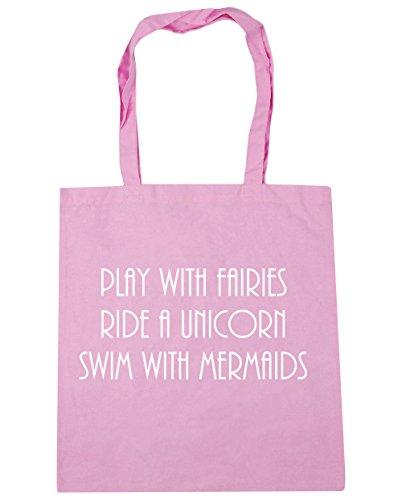 Bag Beach Tote Play Classic 42cm x38cm Pink HippoWarehouse Shopping Swim with Unicorn litres Ride Mermaids with Gym a 10 Fairies wgO1zq7