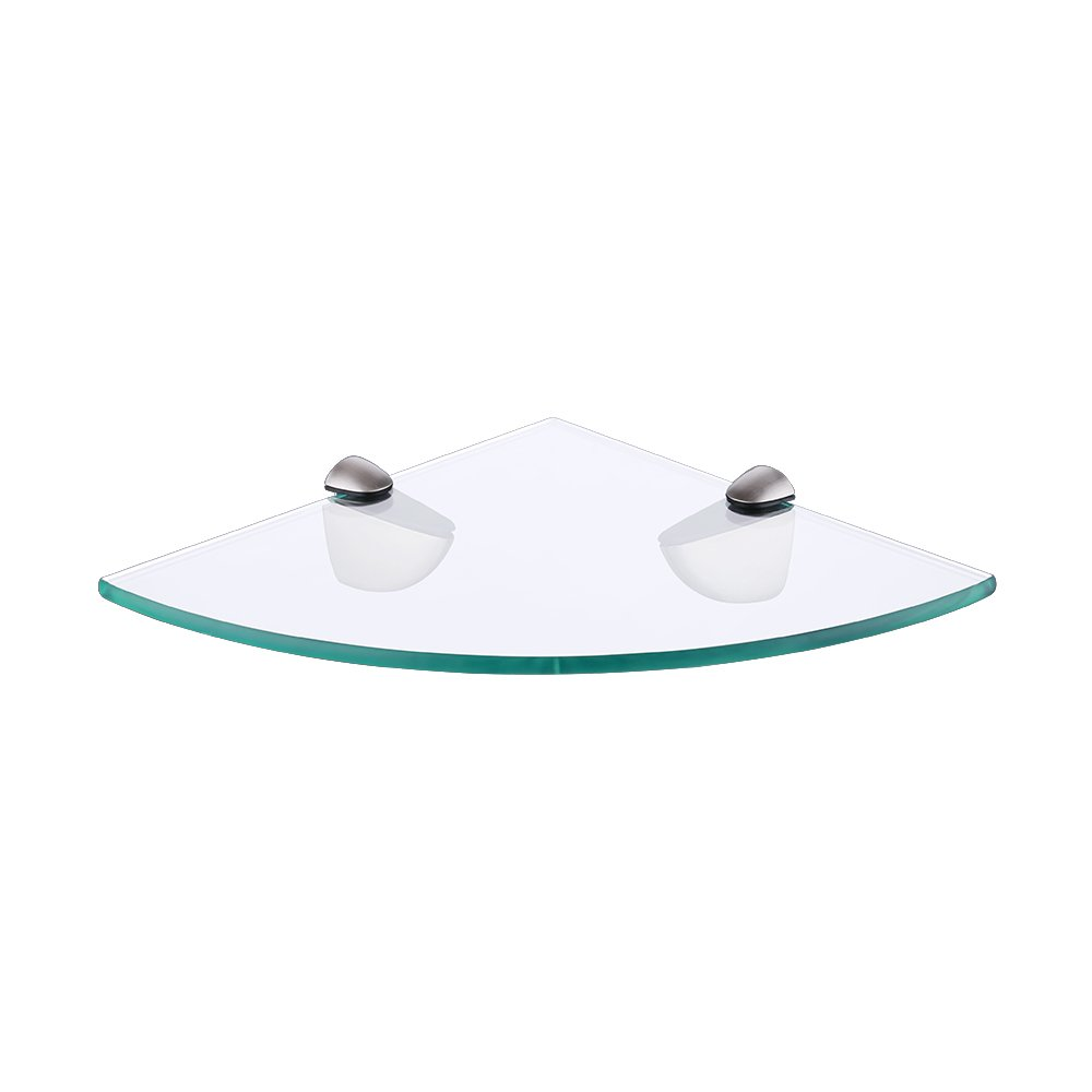 KES BGS3100-2 Lavatory Bathroom Corner Tempered Glass Shelf 8MM-Thick Wall Mount Triangular, Brushed Nickel