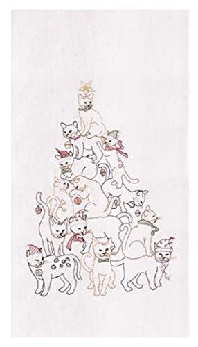 C&F Flour Sack Kitchen Dishtowel, Embroidered Cat Christmas Tree Towel 86171211 27 Inches x 19 inches
