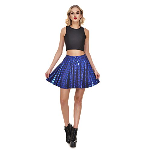 Tail Blue Skirt - Lesubuy Bright Fish Scales Christmas Party Cute Skirt Shiny Mermaid Tail Mini Flared Skater Knee Length Skirts for Women XXX-Large