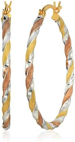 Tri-Color Sterling Silver Braided Hoop Earrings (35mm)