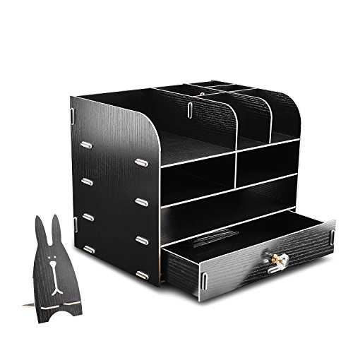 WEBO Black File Storage Box Holder Wood Files Supplies Office Supply Organizer DIY Wooden Detachable Desktop Multilayer File Frame A4/A5 Paper Magazine Document Desk Shelf ()