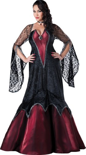 InCharacter Costumes Women's Plus-Size Midnight Vampiress Costume, Black/Red,