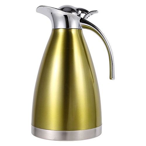 1.5L/2L Coffee Tea Pot Stainless Steel Double Wall Vacuum Insulated Pot Thermo Jug Hot Water Bottle(Gold 2L) ()
