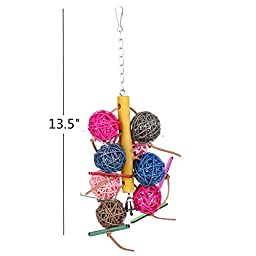 Pet Birds Cage Accessory Parrot Colorful Rattan Ball Chewing Toys, Randomly