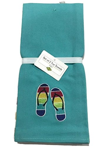 (Ritz Rainbow Flip Flop 2 pack Embroidered Solid & Stripe Tea Towels)