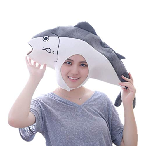 Little Girls Large Sardine Fish Costume Hat Headband Girls Halloween Party Little Kids Stuffed Plush Toy Photo Props Gray -