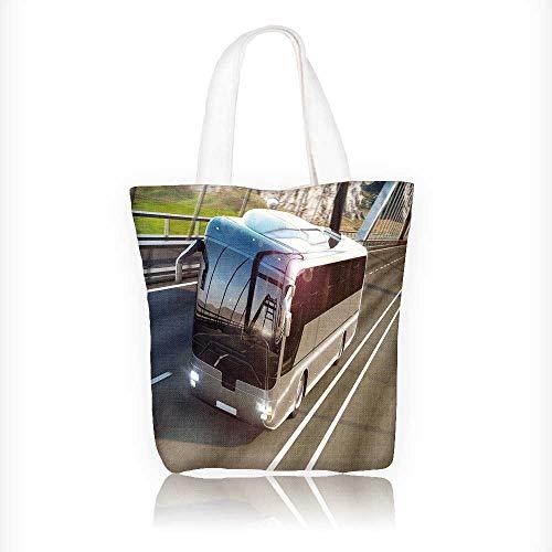 Women's Canvas Tote Handbags realistic of grey bus road travel concept road bridge Casual Top Handle Bag Crossbody Shoulder Bag Purse W11xH11xD3 INCH