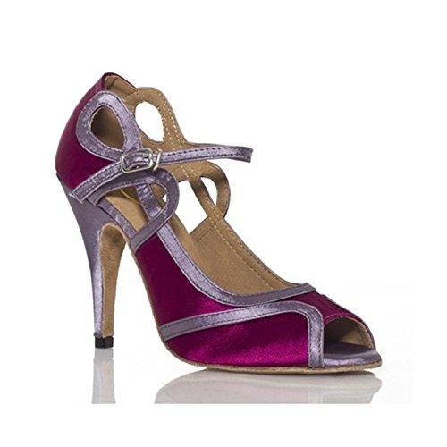 YFF Geschenke Frauen Dance Shoes Ballroom Latin Dance Tango Tanz Shoes 8.5cm,Purple,39
