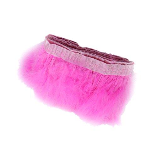 MagiDeal Turkey Fluff Feather Fringe Trim for Sewing Costume Millinery DIY Crafts Dressmaking Decor Pack of 2 Yard - Pink, 2 yard (Turkey Costume Diy)