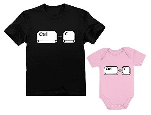 - Dad & Baby Girl/Boy Copy Paste Matching Set Men's T-Shirt & Baby Bodysuit Dad Black XX-Large/Baby Pink 18M (12-18M)
