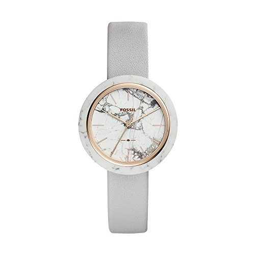 - Fossil Women's Camille Stainless Steel Analog-Quartz Watch with Leather Calfskin Strap, Grey, 16 (Model: ES4381)