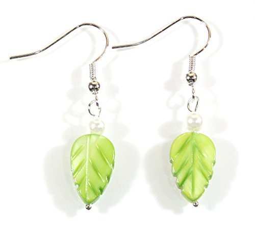 Style ARThouse Little Leaf, Lime Green Mother-of-Pearl Earrings; 1.5 Inches Total ()