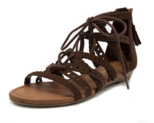 Rampage Women's Shelia Gladiator Braided Flat Lace Up Sandal With Tassel 6.5 Dark Brown