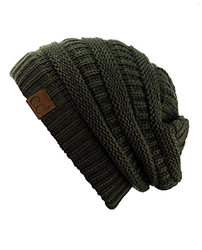 C.C Trendy Warm Chunky Soft Stretch Cable Knit Beanie Skully, Dark Olive (Best Green Olive Brands)