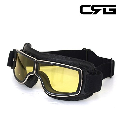 CRG Sports Vintage Aviator Pilot Style Motorcycle Cruiser Scooter Goggle T13 T13BCB - Parent (Yellow Lens Black Padding) by CRG Sports (Image #3)