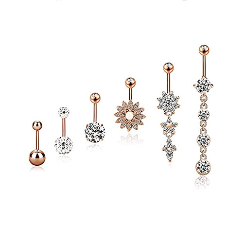Keyzone 6 Pieces 14G Stainless Steel Belly Button Rings Navel Curved Barbell Body Piercing Jewelry (Rose Gold)