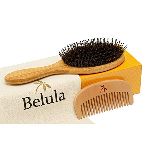 Detangling Boar Bristle Hair Brush Set for Women, Men And Kids With Thick, Long And Curly Hair. Detangles And Restores Shine And Texture To Your Hair. Wooden Comb, Travel Bag & Spa Headband ()