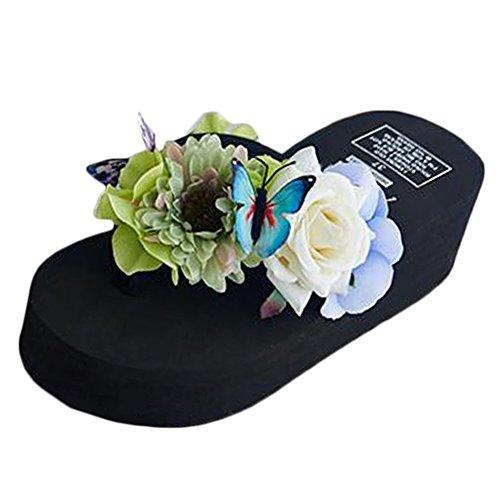 Scothen Mensaje del dedo del pie sandalias para la flor de zapatos de playa tirón de las mujeres fracasos zapatillas sandalias de deslizamiento de vacaciones de verano sandalias romanas sandalias J