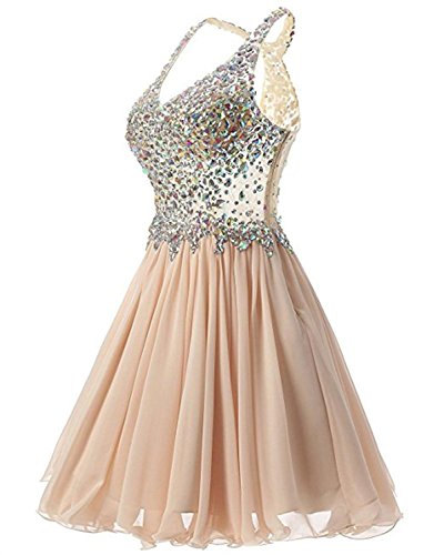 A Short Champagne Prom Women's Neck V Crystal Dresses BRL MALL Line E4P60q