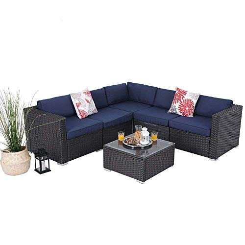 PHI VILLA Outdoor Rattan Sectional Sofa- Patio Wicker Furniture Set (6 Piece, Blue)