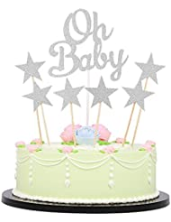 LXZS-BH Pack of 6 Five-pointed star and 1 Glitter Oh Baby Cake Toppers