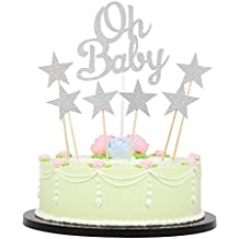 "LXZS-BH Pack of 6 Five-pointed star and 1 Glitter ""Oh Baby"" Cake Toppers 