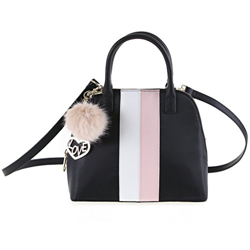 The Lovely Tote Co. Women's Color Stripes Nylon Bowler with Fur Pom Charm Accessory, black/White/Petal Pink, One size
